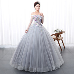 100%real luxury light grey blue long sleeve flower Medieval dress  Renaissance gown Sissi royal princess dress Victoria dress Belle Ball a19c4fa95cdb