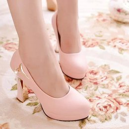 Wholesale Korean Wedding Shoes Bride - 2016 Korean Style Spring New Chunky High Heels Pumps Elegant Wedding Shoes For Bride Asakuchi Wild Chain White Black Pink