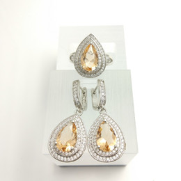 Wholesale Coral Pendant Light - Blue Topaz Light champagne Zircon Jewelry Sets 925 Silver Earrings Pendant Necklace Rings Size  7 8 9 For Women Free Jewelry Box