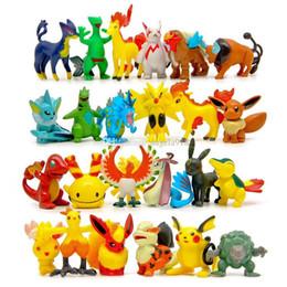 Wholesale Pikachu Child - Poke Action Figures Multicolor about 6CM 2inch mini cartoon children DIY toys Pikachu Model Decoration DHL shipping C1120
