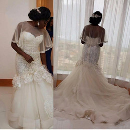 Wholesale bridal dress china mermaid - South African New 3D Floral Appliques Mermaid Wedding Dresses China Bridal Gowns With Wrap Plus Size Tulle Court Train Vestidos De Novi