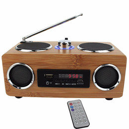 Wholesale passive speakers - Multifunctional Handmade Bamboo Portable Speaker Mini Hi-Fi Bamboo Wood Boombox TF USB Card Speaker FM Radio with Remote Control MP3 player