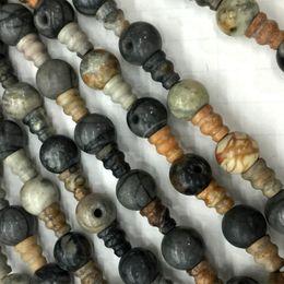 Wholesale Tibet Buddha Stone - Natural Genuine Gray White Picasso Jasper Pagoda Tee Buddha Head Tibet Guru Beads Fit Jewelry DIY Necklaces (10 Beads lot) 04228