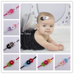 Wholesale Thin Rhinestone Headbands - Wholesale- 2016 Baby newborn infant headbands thin elastic rhinestone Headband fabric flowers for headbands children hair accessories