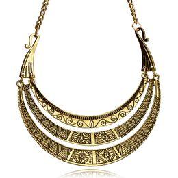 Wholesale Vintage Initial - Vintage Bohemian Ethnic Necklace Golden Plating Maxi Multilayer Retro Charm Boho Choker Necklace For Women