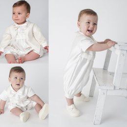 Wholesale Baby Boy Tie T Shirt - First Communion Gowns With Jacket Boy Baby Free Shipping Short Sleeves Bow Tie Jewel Neckline Christening Suits Custom Made Pageant Gowns