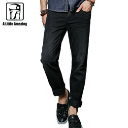 Wholesale Type Jeans Pant - Wholesale-ALA MASTER Brand Clothing Solid Black Men Casual Jeans Homme Pants Mid Waist Straight Type Full Length Trousers 158018