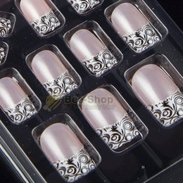 Wholesale Glue Nails Wholesale - 24pcs set full fake nails with the glue pre designed acrylic false nail full tips with free nail glue JQ109
