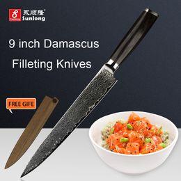 Wholesale Japanese Damascus Kitchen Knives - Sunlong Filleting Knives Japanese Damascus steel 9 inch Slicing Knives kitchen knife Cleaver 67 layers Sashimi knife
