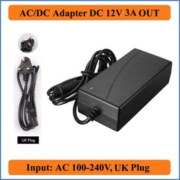 Wholesale Adapter For Lcd 12v 3a - 12V 3A UK Plug AC DC Adapter AC 100-240V Converter to DC 12V 36W Power Supply For 5050 RGB Led Light Strip or LCD CCTV Camera