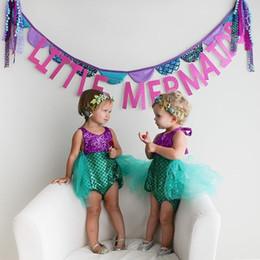 Wholesale Tutu Swimwear - 2016 Princess Baby Girls infant Little Mermaid Sequins Bikinis Swimwear Costume Summer Beach Children Swimsuit Children's Swimwear