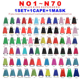 Wholesale Wholesale Superhero Capes For Kids - Double Sides 70 Designs 70*70cm Cartoon Kids Superhero Capes For Kids Capes With Mask Christmas Halloween Cosplay Capes Prop Party Costumes