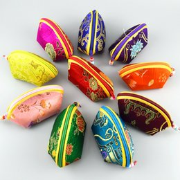 Wholesale Cheap Candy Boxes Bags - Cheap Small Zipper Christmas Candy Gift Bag Birthday Party Wedding Favors Seashell Silk Coin Purse Wallet Jewelry Packaging Pouch Wholesale