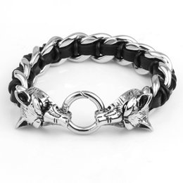 Wholesale Wolf Charms For Bracelets - Fashion Charm Leather Bracelet Handmade Braided Bracelets For Men Women Black Genius Leather Jewelry Double Wolf Stainless Steel Accosseries