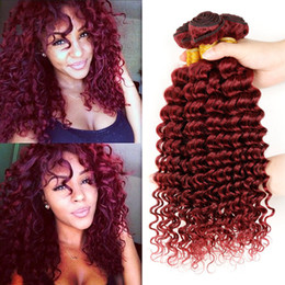 Wholesale Hair Weave Red Curly - 8A Grade Deep Wave 99J Brazilian Hair Weft 3Pcs Lot Burgundy Human Hair Bundles Deep Curly Wine Red Indian Hair