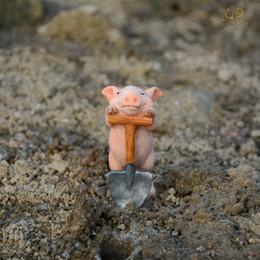 Cerdos de resina online-Patio Everyday Collection Resina Luchando Cerdo Hada Jardín Miniaturas Decoración Decoración del hogar Accesorios