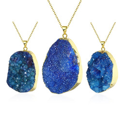 Wholesale Blue Crystal Quartz Natural - 5 colors necklace pendant irregular blue agate stone natural quartz crystal pendant DIY necklace gold plated necklace jewelry N001-D