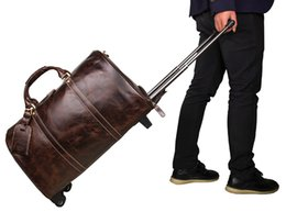 "Wholesale Travel Bag Wheel Men - 18"" 20"" Men's Large Vintage Genuine Leather laptop Travel Wheeled Duffle hand luggage bag Carry On Rolling Duffel bags men"