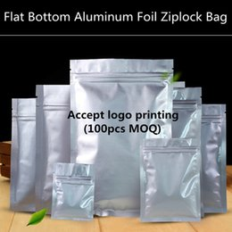 Wholesale Wholesale Resealable Foil Bags - 200pcs lot Resealable Small Flat Bottom Aluminum Foil Zip Lock Bag Food Moisture-proof Zipper Storage Pouch Custom Logo Bag