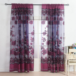 Wholesale Making Bead Curtains - New Arrival Fashion window custom made embroidered   violet tulle beads curtain for the bedroom design sheer voile curtain