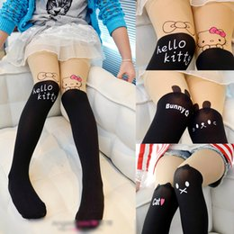 Wholesale Kitty Tights Wholesale - 2016 New Hot 19 Styles Cartoon Print Girls Pantyhose Lovely Tattoo Tights Children Socks Mickey Hello Kitty Elastic Stockings For Kids