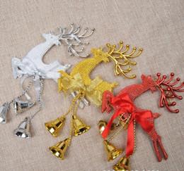 Wholesale Gold Plastic Bells - Christmas hanging decor Christmas Tree Hanging Elk Bells Jingle Pendant Party Decoration Ornaments G852