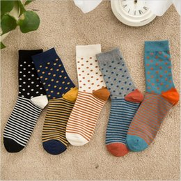 Wholesale Novelty Combs Wholesale - Wholesale- New Arrival high quality combed cotton men polka dot strip happy socks color brand designer casual novelty dress business