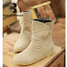 Wholesale Cheap Summer Wedge Heels - Wholesale- BONJOMARISA New 2016 Cheap Women Spring Shoes Low Hidden Wedges Half Knee High Ankle Shoes Flats Heels Platform Autumn Boots