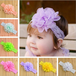 Wholesale lace flowers wholesale - 19 colors Baby Girls Lace Headbands Infant big Chiffon Flower hair band headwear Children Hair Accessories Kids Elastic Headbands KHA347