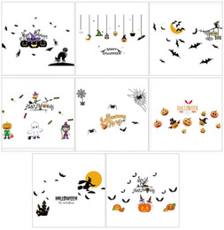 Wholesale Window Clings Halloween - PVC Halloween Decorations Window Static Cling Stickers Bats Pumpkin Witches House Home Shop KTV Glass Interesting Sticker Decor