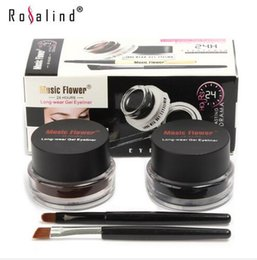 Wholesale Perfect Eyeliner - Makeup 2 in 1 Black + Brown Colors Long-Wear Gel Eyeliner with Small Brushes Perfect Cosmetic Brand Music Flower Free Shipping