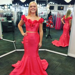 Wholesale Handmade Jewels - 2017 Two Pieces Mermaid Prom Dresses With Handmade Flowers Jewel Sleeveless Evening Dresses Back Zipper Custom Made Formal Vestidos De Noiva