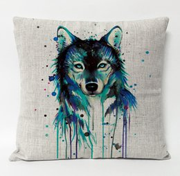 Wholesale Head Throw - Watercolor Painting Animal Wolf Totem Cushion Cover Wolf Head Pillowcase Decorative Sofa Throws Linen Cotton Pillow Covers