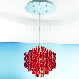 Wholesale Glass Pendant Lamp Red - Hybrid-type Stair Glass Pendant Light Fashion Brief Lighting Fixture Dining Room Living Room Chandelier Light Creative Pendant Lamp
