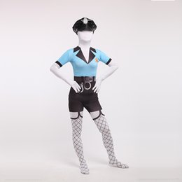 Wholesale Sexy Policewoman Costume - Brand New Blue and Black Lycra Spandex Full Body Zentai Suit Halloween Sexy Policewoman Uniform Cosplay Costume(Include Hat))