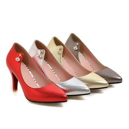 Wholesale Plus Sexy Dresses Day - 2017 new sexy red woman high heels fashion casual office Pointed toes shoes dress party shoes plus size 43
