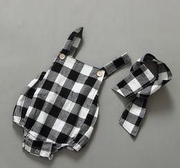 Wholesale Baby Boy Suspender 2pcs - Summer babies romper clothes fashion new Baby girls cotton plaid suspender romper +headband 2pcs sets kids jumpsuit bodysuit one-piece A8251