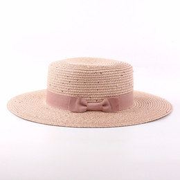Wholesale Ladies Straw Fedora - Wholesale- 2017 Summer Flat Straw Hats For Women Sequined Bow Sun Hat Ladies Fedora Sombreros Mujer