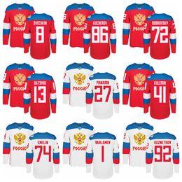 Wholesale Pavel Datsyuk Hockey Jersey - Ice Hockey Russia Jerseys World Cup WCH 72 Artemi Panarin Russian Jersey 8 Alex Ovechkin 13 Pavel Datsyuk 86 Nikita Kucherov 71 Malkin
