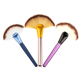 Wholesale Wooden Fan Handles - 7 colors Wooden Handle Blusher Make Up Brush Professional Fan Shaped Cosmetic kit Powder Foundation Makeup Tool