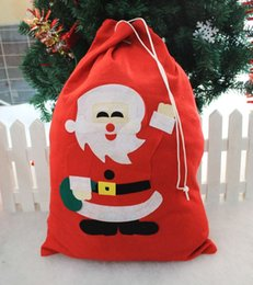 Wholesale Childrens Party Bags Wholesale - 2016 Christmas Decorations Gift Bags 25*30 Santa Claus Christmas Tree Childrens Candy Bags For Festival Party