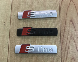 Wholesale Audi A4 Grille - 3D S Line Sline Car Front Grille Emblem Badge Metal Alloy Stickers Accessories Styling For Audi A1 A3 A4 B6 B8 B5 B7 A5 A6 C5 C6 A7 TT