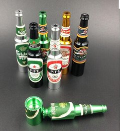 Wholesale Wine Accessory Wholesale - Wholesale Native Wine Bottle Metal Tabacco Pipes Adult Smoking Pipe Fashion Easy Smoking Accessories Bottle Shape