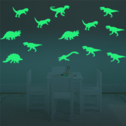 Wholesale Dinosaur Stickers - Wall stickers kids fashion Creative DIY Carved bedroom Luminous dinosaur Removable Decorating art Sticker Decor 2017 3d stickers wholesale