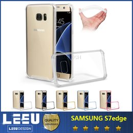 Wholesale Acrylic Cushion Covers - For Samsung Galaxy S7 edge Shockproof Case Cover Air Cushion for Iphone 6S Plus Corners Double Layer TPU Acrylic Drop Resistance Protective