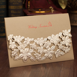 Wholesale Gold Embossed Wedding Invitations - Gold Red Wedding Invitations 2018 Personalized Printing Laser Cut Embossed Flower Engagement Cards with Envelope Wedding Supplies