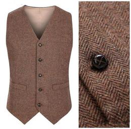 Wholesale Slim Formal Dress - 2018 Country Farm Wedding Brown Wool Herringbone Tweed Vests Custom Made Groom Vest Slim Fit Mens Suit Vest Waistcoat Dress Real Imag