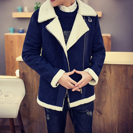 Wholesale Mens Faux Jacket - Wholesale free shipping Fall-Shearling Winter Coat Faux Fur Suede Jacket Sid Zip Lamb Wool Mens Sheepskin Coat