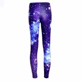 Wholesale Galaxy Print Tie - Wholesale- Wholesale Hot new Women Sexy Universe Galaxy Blue Printed Leggings Pants Elasticity Fashion Space Tie Dye Milk Silk S-XL