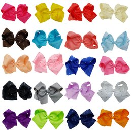 Wholesale Blue Green Grass - 8 Inch JOJO Rhinestone Hair Bow With Clip For School Baby Children Pastel Bow 10 Style